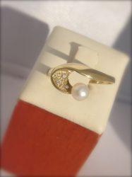 Sárga arany IGAZGYÖNGY GYŰRŰ,  fehér cirkónia kövekkel Au 270