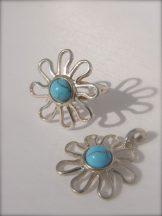 TÜRKIZ , virág szett- gyűrű,medál Ag3617