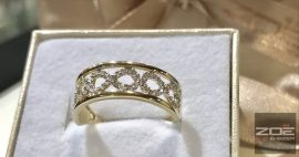 Sárga-fehér arany eljegyzési gyűrű, végtelen szimbólummal!     G8