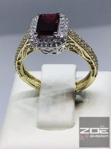 Piros köves, klasszikus női gyűrű Au 2440