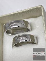 FEHÉR ARANY, vésett karikagyűrű, kővel - A939F