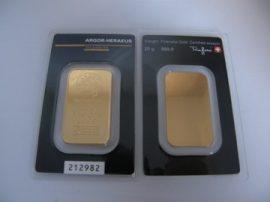 BEFEKTETÉSI ARANY - HERAEUS GOLD 999,9 SZÍNARANY 20 grammos tömb