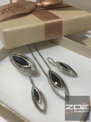 Moni's exkluzív ezüst szett- FEKETE-FEHÉR kövekkel