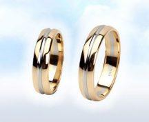 """Sárga-fehér arany karikagyűrű: """"IGAZ SZERELEM"""""""