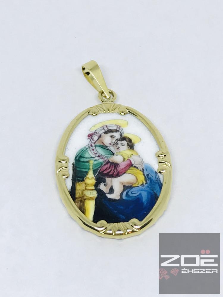Porcelán medál - Sz.Mária a kis Jézussal