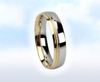 """Fehér-sárga,mintás karikagyűrű: """"ROMANTIKA"""""""