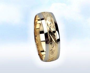 """Fehér-sárga arany karikagyűrű: """"BAROKK ÁLOM"""""""