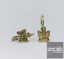 Sárga arany pillangó gyerek, baby fülbevaló Au 2549