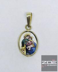 ARANY, PORCELÁN MEDÁL- SZŰZ MÁRIA A KIS JÉZUSSAL Au 3052