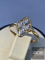 Sára-fehér arany női köves gyűrű Au 245