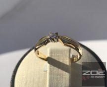 Sárga arany ejegyzési gyűrű, szoliter fazon