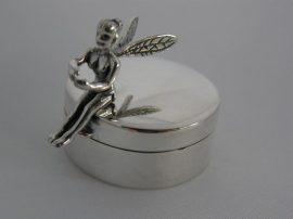 EZÜST FOGTÜNDÉR DOBOZKA , ezüst fogszelence, ezüst keresztelő ajándék  Ag8326
