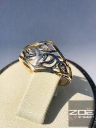 Sárga-fehér arany női gyűrű, áttört mintás, kővel