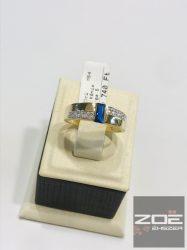 Sárga arany női gyűrű, kék és fehér cirkóniákkal      Au2912