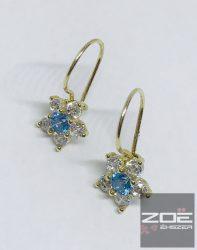 Sárga arany gyerek fülbevaló,virág, kék kővel  AU1641