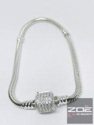 "Ezüst ""pandora"" stílusú karlánc, köves kapoccsal - 18cm, Ag7683"