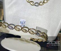 Pávaszemes ARANY karkötő  1 fehér -1 sárga szemmel Au 2556