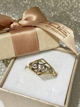 Sárga-fehér arany köves gyűrű Au501