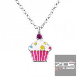 Színes muffin medál (CUPCAKE), ezüst láncon - szett kislányoknak  Ag 4995