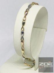 Sárga-fehér-rozé aranyból készült karkötő Au2535