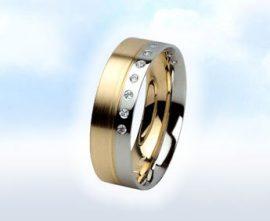 """Sárga-fehér,köves karikagyűrű: """" ÁMOR"""""""