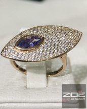 MONI's eüst gyűrű, ROZÉ bevonattal, ametiszt kövel  Ag 3517