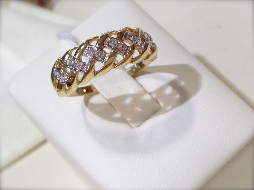 288dc2f3c9 SÁRGA ARANY NŐI fonott gyűrű, cirkónia kövekkel Au 1526 022 - IGAZI ...