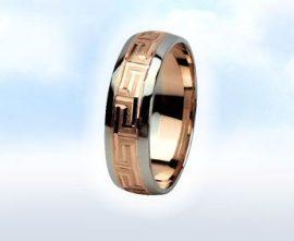 """Fehér és rózsa arany karikagyűrű: """"GÖRÖG LAGZI"""""""