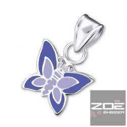 Ezüst, színes pillangó medál Ag 5007