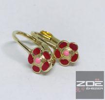 Sárga arany gyerek, baby fülbevaló, piros zománcos díszítéssel Au1370