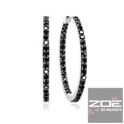 SIF JAKOBS ezüst fülbevaló, fekete cirkóniákkal  Ag7251
