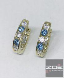 SÁRGA ARANY GYEREK fülbevaló, kék-fehér cirkóniákkal, dupla oldalú  Au1621