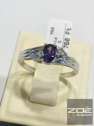 Fehér arany női gyűrű, fehér és LILA cirkóniákkal    Au3187
