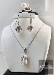 Ezüst Igazgyöngy szett ( fülbevaló,medál, gyűrű és lánc)