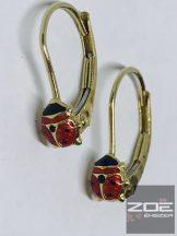 Sárga arany , gyerek, baby fülbevaló - színes katica Au 690