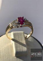 Sárga arany, női gyűrű rubin és fehér színű kövekkel, cirkóniákkal