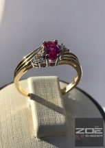 Sárga arany, női gyűrű rubin és fehér színű kövekkel, cirkóniákkal Au 2637