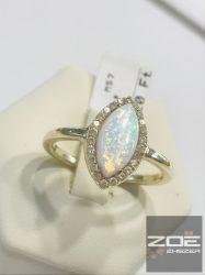 Sárga arany gyűrű, opál és cirkónia kövekkel  Au2589