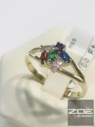 Sárga arany gyűrű, színes cirkónia kövekkel   Au2950