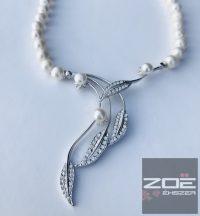 Igazgyöngy nyakék, ezüst közép dísszel   R2273