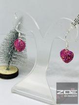 Swarovski köves rózsaszín szív fülbevaló Ag 5070