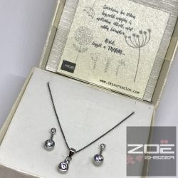 TANÚ FELKÉRŐ/ köszönet ajándék, ezüst ékszer szett  - Füli és medál (Ag4353)