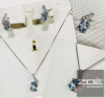 18 karátos fehér arany fülbevaló, medál és lánc szett , BRILL és AKVAMARINE Au 853,854