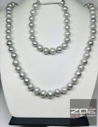 IGAZGYÖNGY nyaklánc - ezüst szürke színben 45 ,42cm  R1795,1796