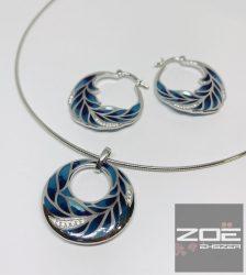 EZÜSTmedál,fülbevaló szett - kék zománc berakással  Ag 5685