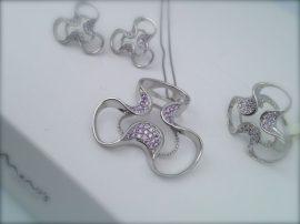 MONI'S SHINING  virág,ezüst ékszer kollekció- lila cirkónia kövekkel Ag 3532,3534,3533(51-53.)