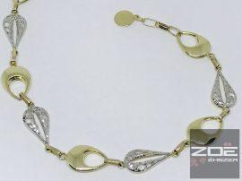 Sárga-fehér arany női karkötő  Au2515