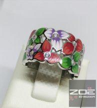 EZÜST GYŰRŰ ZOMÁNC BERAKÁSSAL, színes virágos, cirkónia kövekkel